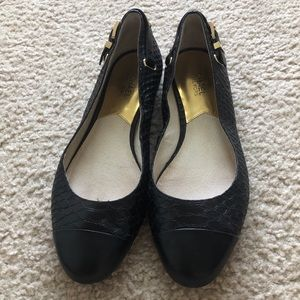 Michael Kors black and gold leather flats shoes